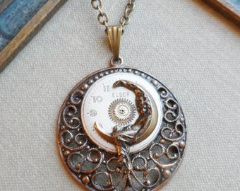 50% Off, Steampunk Clearance Sale- Dreamweaver, Vintage Watch Face, Steampunk Necklace