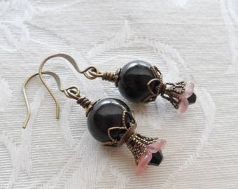 75% Off Clearance Sale, Lily Blossom Earrings, Vintage Beads, Black and Pink