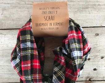 Red Black Light Blue Plaid Flannel Infinity Scarf - Plaid - Flannel - Oversized - Warm - Winter- Cozy - Unisex - Gray