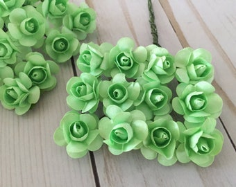 36 Mint Paper Flowers - small bouquet -  wedding, bridal, blue, baby shower, party favor, invitation making