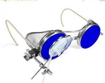 Steampunk Goggles Vintage RARE BLUE Tint Aviator Biker Burning Man Glasses MeSH SiDE SHiELDS WiLLSON Magnifier Loupes MINT - by edmdesigns
