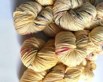 Hand-dyed yarn, Indie dyed yarn, hand dyed yarn I <3 NY Yellow T-Shirt -ready to ship- Brooklyn Bridge worsted weight superwash merino yarn