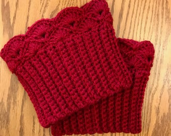 Ruby Red Boot Cuffs, Boot Toppers