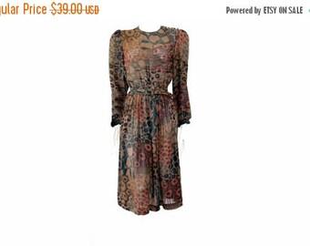 Summer Sale Vintage Animal Print Sheer Dress  Fall Color Dress // Long Vintage Style Dress // Lawrence Greer Vintage Dress // Size 10 //121
