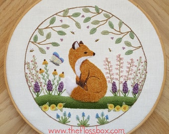 Fox in the Flowers Crewel Embroidery Pattern