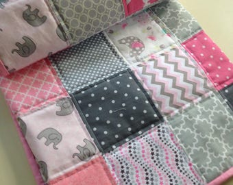 Patchwork Baby Quilt for  Baby Girl with Elephants, Butterflies, Polka Dot,Chevron,Cotton Prints(Pink, bright pink, gray)