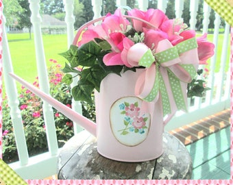 Pink Roses Watering Can Floral Arrangement, Floral Arrangement, Flower, Wreath, Watering Can, Shabby Chic Home Decor, Hand painted Roses