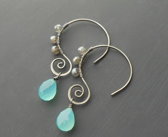 Gemstone Spiral Earrings
