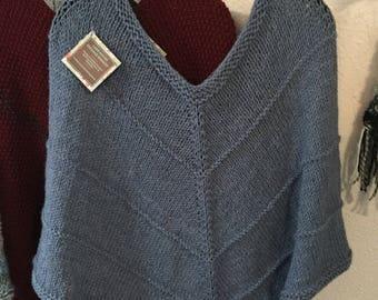 Hand Knit Poncho in Denim Blue
