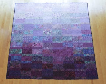 Queen Size Quilt Modern Quilts Custom Made Purple Quilt Handmade Queen Quilt Fiber Art Bed Quilt Minimalist Quilts Modern Queen Quilts