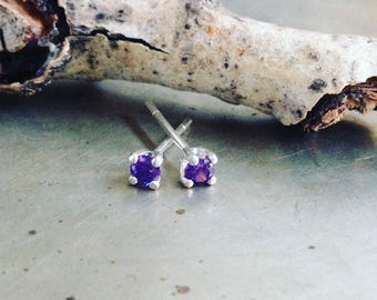 Amethyst Post Earrings Cubic Zirconia Sterling Studs