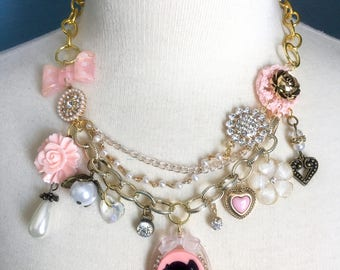 Sweet Romance Princess Statement Charm Necklace