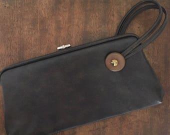 Vintage Vinyl Wristlet Purse, 1940's Handbag Mid Century Brown Clutch Bag