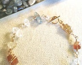 Raw Gemstone Gold Bracelet, Herkimer Diamond, Blue Kyanite, Green and Brown Garnet, Wire Wrapped, Shimmer Shimmer