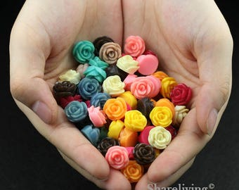 Clearance Sale -  Lots of 100pcs Mixed Color 3D Resin Flower Cabochons Charms  -- CLS003V