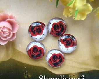 SALE - 30% OFF Time Limited Offer - 20 Percent OFF - 10pcs 12mm Handmade Photo Glass Cabochon / Wooden Cabochon  (Rose) -- Bch137C