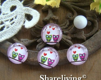 SALE - 30% OFF Time Limited Offer - 20 Percent OFF - 10pcs 12mm Handmade Photo Glass Cabochon / Wooden Cabochon (Owl) -- Bch120F
