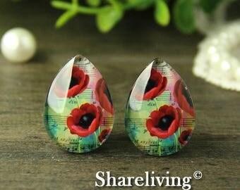 SALE - 30% OFF 4pcs 18x25mm Handmade Photo Teardrop Glass Cabs Cabochons -- BCH969B