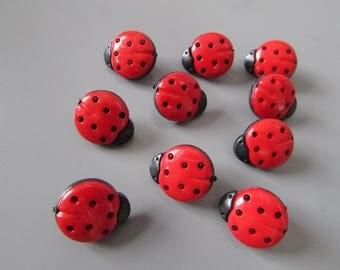 Red Ladybird Buttons X 10