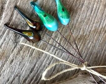 ORGANIC HEADPINS - Long Lampwork Glass Headpins, Silver Glass Headpins - 4 Headpins - Earring Pairs