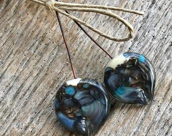 ORGANIC PETAL HEADPINS - Handmade Lampwork Glass Headpins - 2 Headpins - Earring Pair