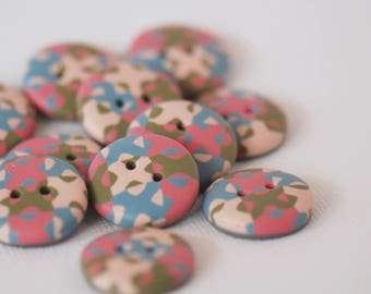 20 mm multicolored patterned handmade Buttons, Set of 11, Pink blue green colors
