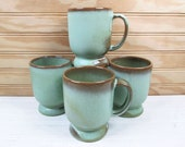4 Vintage Frankoma Pottery Coffee Mug Cup Set Prairie Green C2 Lot