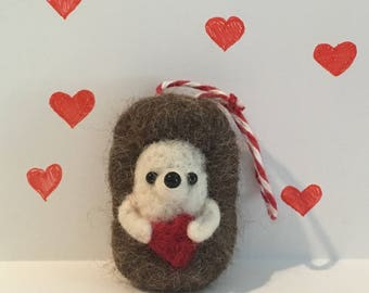 Needle Felted Hedgehog/Ornament/Valentines Day/Love/Wool Sculpture/Decoration/Hedgie/Pet/Wool Roving/Handmade/Home and Living