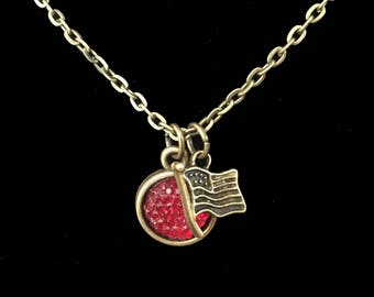 """Sweet Patriotic USA Flag Necklace-18"""" Antique Bronze chain- Great for 4th of July- Hurry- Get Yours Now"""