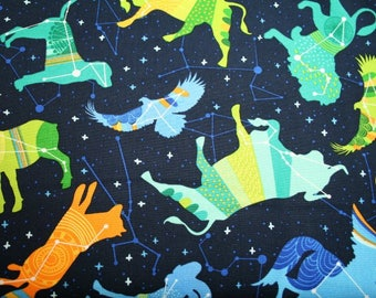 Night Sky Animal Constellations by Robert Kaufman  - By the fat quarter or half yard