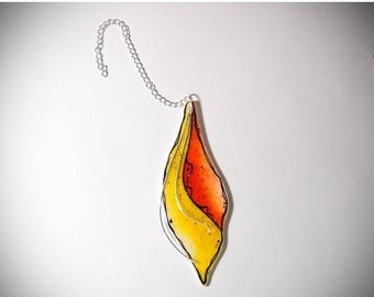 CLOSEOUT SALE Fused Glass Christmas Ornament - Sterling Silver - Holiday Decor - Mixed Media Suncatcher - Handmade Original Art