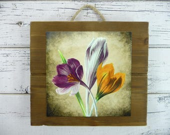 WOOD SLAT Tulips Wall Hanging Pallet Sign Jute Hanger Beautiful Home Decor Great Gift For Her Faux Painting Formal Casual Country Cute