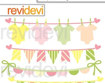 35% OFF SALE Baby girl bunting digital clipart, commercial use clipart, baby shower banners clip art