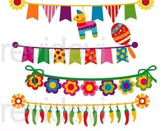 35% OFF SALE Cinco de mayo bunting clipart - Mexican banners clip art - digital images - instant download