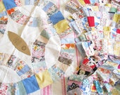 Double Wedding Ring Love...Big Lot of Vintage 1930s-40s Quilt Blocks