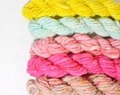 flamingo go go ... handspun yarn set, weaving creative yarn bundle, hand spun, hand dyed yarn, handspun art yarn