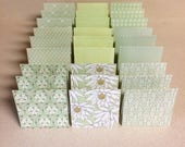 Mini Cards 27 green mix - blank for thank you notes 3 x 3