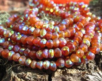 Mystic Carnelian beads rondelles - semiprecious stone - 5mm X 3mm - 6 1/4 inches