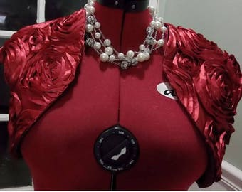 Burgundy Bridal Bolero,Rosette Short Sleeve Shrug,Satin wedding Jacket
