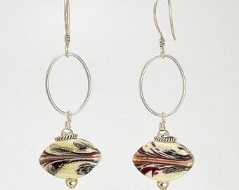 Lampwork Earrings - Lampwork Black Silvered Ivory Sterling Silver Lampwork Bead Dangle Earrings - KTBL