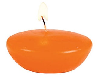 Orange Floating Candles, pack of 12