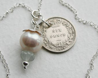 Victorian Sixpence Lucky Charm Necklace Pearl Jade Charm Genuine 1883 Coin Bridal Wedding Jewel