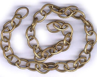 vintage BRASS CHAIN antique sturdy brass chain, or reuse for the links, chased brass need TOOL to open links