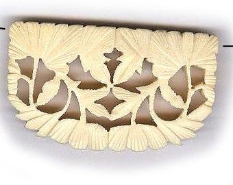 "vintage CARVED BONE bead pendant size carved bone bead ORGANIC natural bead one bead 2"" x 1-1/8"" antique bone bead detailed"