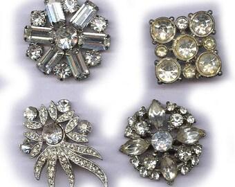 vintage single earrings BOX LOT whites crystal rhinestone backs cut off glamourous FOUR bridal bouquet hot glue embellishment earrings