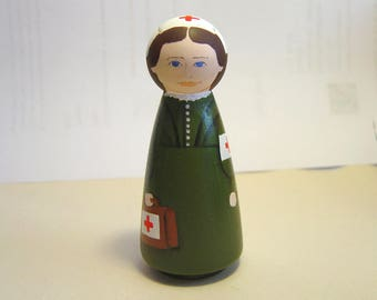 CLARA BARTON, founder of American Red Cross, Ornament, hand painted in USA