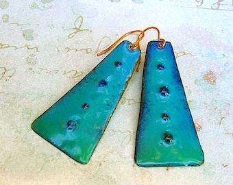 boho earrings turquoise earrings Rustic enamel jewelry Trapezoid dangle earrings - Boho style earrings - drop earrings - Bohemian Jewelry
