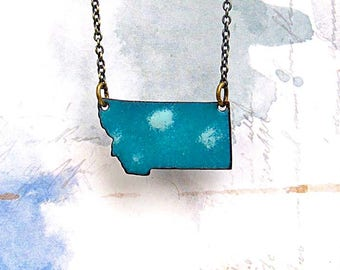 Montana necklace, sky and clouds enamel jewelry