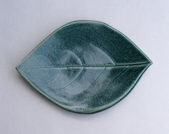 Ceramic Spoon Rest/Plate Persimmon Leaf Plate, Antique Blue