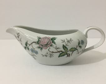 Halsey Chantilly Gravy Boat Beautiful Japanese Style Floral Silver Metallic Rim Delicate Botanical Floral